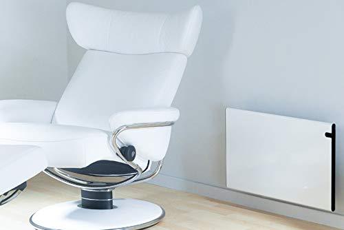 color blanco Bendex LUX ECO 1000 W, 370 mm, elegante y fino, bajo consumo, pantalla LED, control de temperatura de d/ía y de noche Radiador el/éctrico de pared