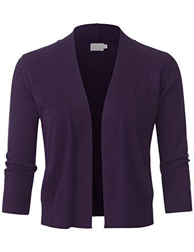 JSCEND Womens Classic 3/4 Sleeve Open Front Cropped Bolero Cardigan Darkpurple M