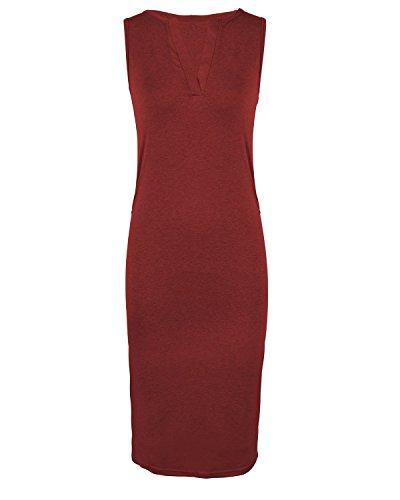Increspato Femminile Serbatoio Aelson V Bodycon Rosso Midi Maniche Neck Y707xtq
