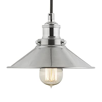 Linea di Liara Andante Industrial Factory Pendant Lamp - One-Light Fixture with Metal Shade Exposed Hardware Fabric Wrapped Cord - 5-Inch Canopy - Downlight Modern Vintage LL-P407