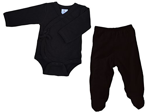 Layette Set: Footed Pants and Long Sleeve Kimono Bodysuit (3-6 months, Black)