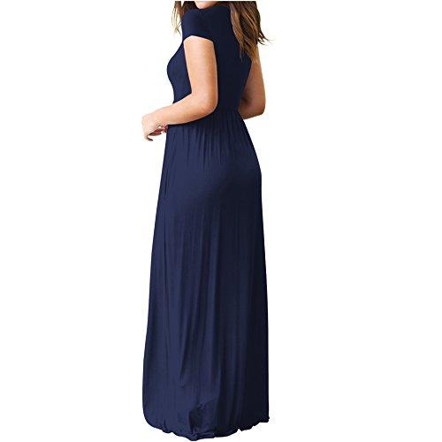 with Dress Summer Sleeve Dress Long Short MOLPE Maxi Women's Darkblue Pockets Casual FwnqUZWx