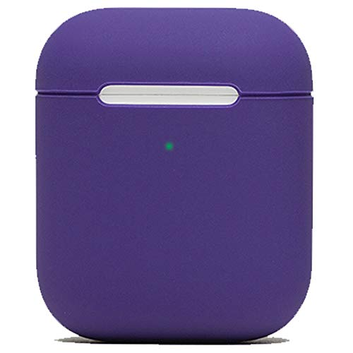 (Protective Airpods Case [Front LED Visible][Made of 2 Pcs] Shock Proof Soft Skin for Airpods Charging Case 1&2 (Purple))