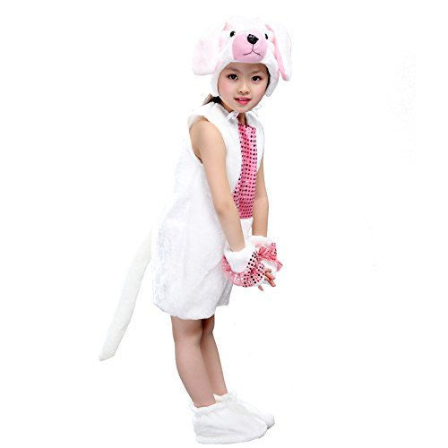 Dance Costumes As Animals (Dreamowl Child Animal Onesie School Play Costume Stage Performance Outfit (L, White dog))