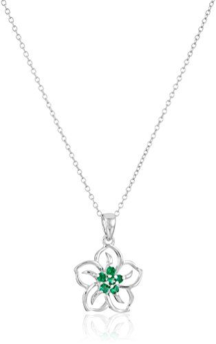 Sterling Silver Created Emerald Flower Pendant Necklace, -