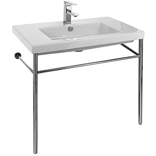 Tecla CAN02011-CON-One Hole Cangas Rectangular Ceramic Console Sink and Polished Chrome Stand, White ()