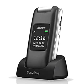 Easyfone A1 3G Unlocked Senior Flip Cell Phone, Big Button Hearing Aids Compatible Easy-to-Use Flip Mobile Phone with Charging Dock(Black)