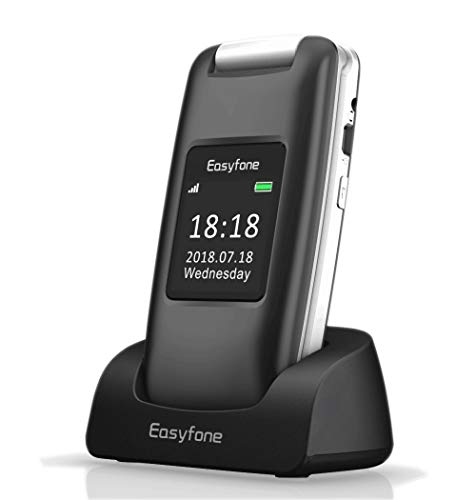 Easyfone Prime A1 3G Unlocked Senior Flip Cell Phone, Big Button Hearing Aids Compatible Easy-to-Use Cell Phone with Charging Dock (Black) (Best 3g Flip Phone)