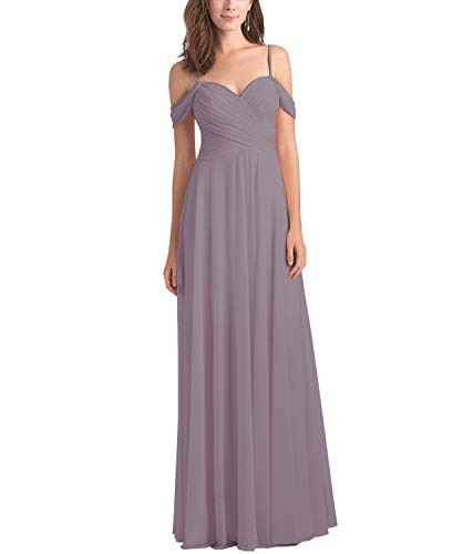 Women's Chiffon A Line Off The Shoulder Wisteria Bridesmaid Dress Long Draped Evening Party Formal Dress Size 16 -