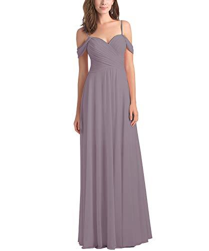 Women's Chiffon A Line Off The Shoulder Wisteria Bridesmaid Dress Long Draped Evening Party Formal Dress Size 14 (Draped Shoulder Dress)