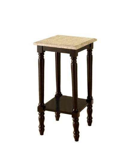 Furniture of America Meredith Table, Square Stand with Genuine Marble Top, Dark Cherry -