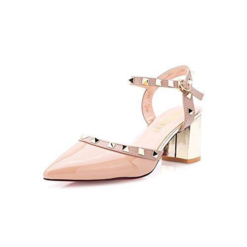 Moda Mujer verano sandalias confortables,33 tacones altos tacones 10.5cm blanco apricot