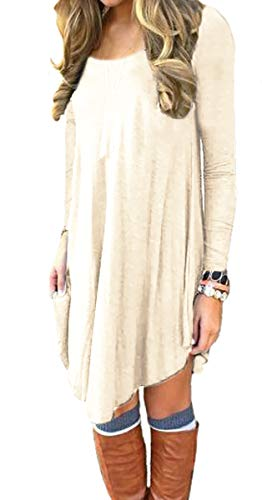 DEARCASE Women's Long Sleeve Round Neck Casual Loose T-Shirt Dress Beige ()
