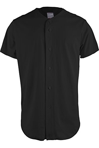 TOP LEGGING TL Men's Baseball Hipster Button Down Athletic Short Sleeve Jersey Tops Cotton-Black - Tl Sports