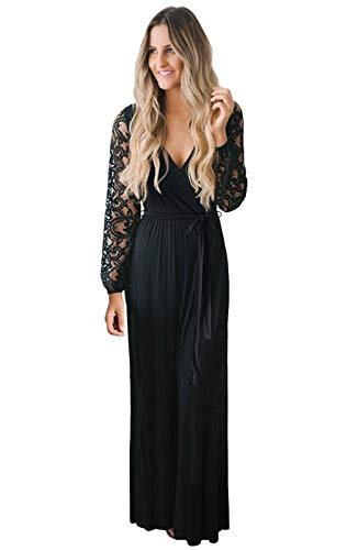 Zattcas Womens Casual Floral Lace Long Sleeve Wrap V Neck Bridesmaid Maxi Dress Black Large