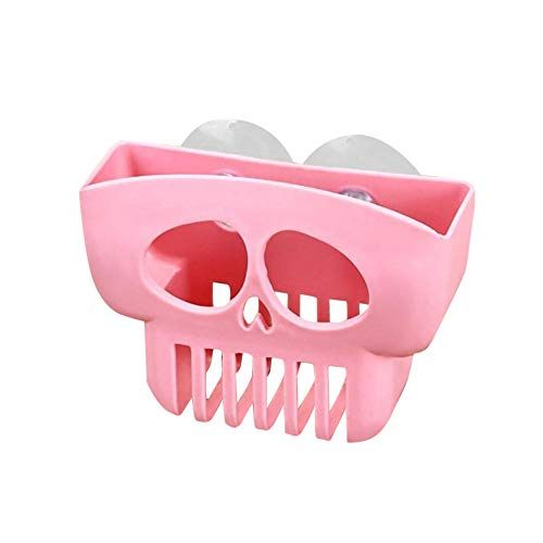 Iusun Storage Rack, Dish Cloths Cup Sink Sponge Holder Clip Rack Plastic Suction Cup Sink Shelf Skull Drain Rack for Bathroom Kitchen Tool (Pink)