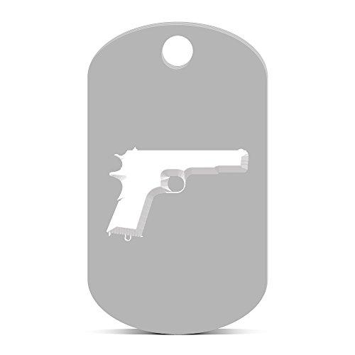 Model 1911 Keychain GI Dog Tag engraved m1911 Silver