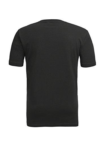 Coton À Manches, Plus V-cou Hommes Zity Taille Lourd Confort Doux Court T-shirt Noir Pur