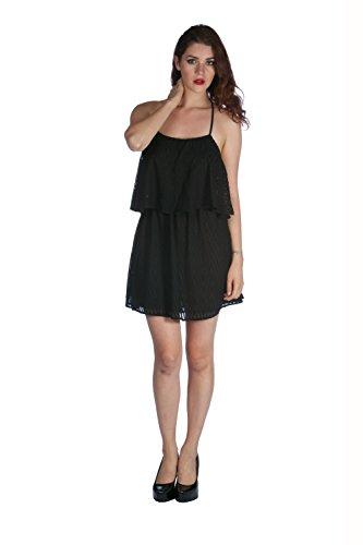 Sexy Women's Sleeveless Backless Strappy Mini Dress (Large, Black)