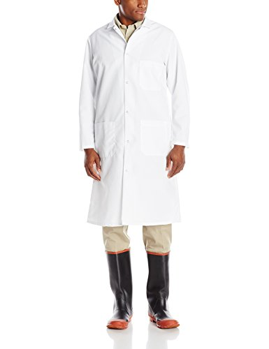 Polyester Spun Chef Coat - Red Kap Men's Gripper-Front Spun Polyester Butcher Coat, White, X-Large