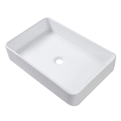 Lordear 24x16 Modern Rectangle Bathroom Above White Porcelain Ceramic Vessel Vanity Sink Art Basin (White Bathroom Vessel Sink)