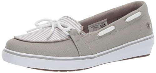 Grasshoppers Women's Windsor Bow Canvas Sneaker, Stripe, - Grey Stripe Canvas
