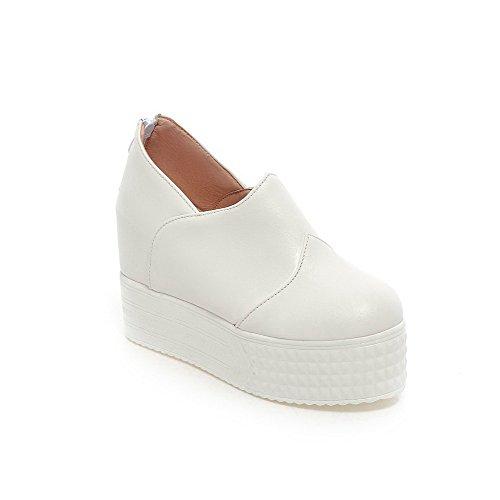 AllhqFashion Damen Hoher Absatz Weiches Material Rein Reißverschluss Rund Zehe Pumps Schuhe Weiß