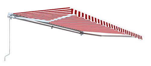 ALEKO Retractable Awning 13 x 8 Feet Patio Awning Red and White Stripes
