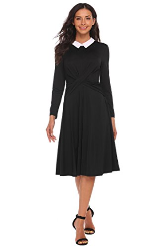 Twist Sleeve Pan Party Women and Fit Black Dress Long Front Peter Bulges Collar Flare I0xfqBBw