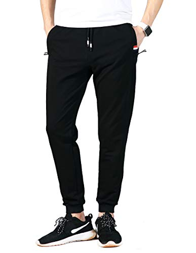 MO GOOD Mens Casual Pants Joggers Gym Workout Running Sweatpants Sports Outdoor Active Pants with Zipper Pockets