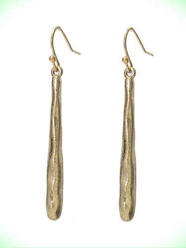 Long Bar Antique Gold Finished Hammered Bar Dangle Pierced Wire Earrings For Women