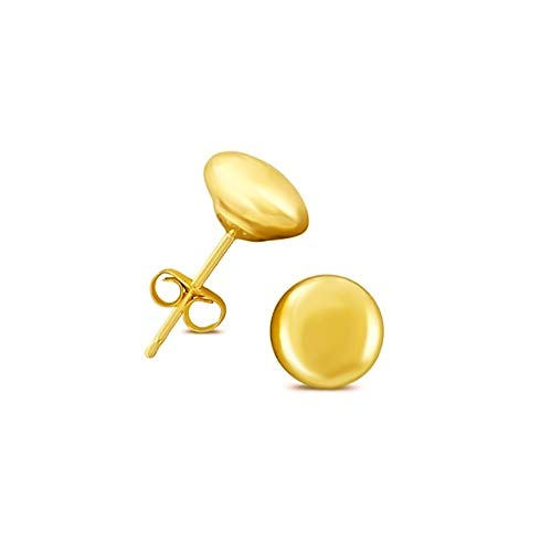 (14K Yellow Gold 6mm Button Ball Stud Earrings)