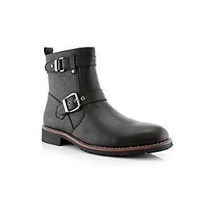 Polar Fox Mens Classic Modern Engineer Casual Zipper Boots Black 9.5