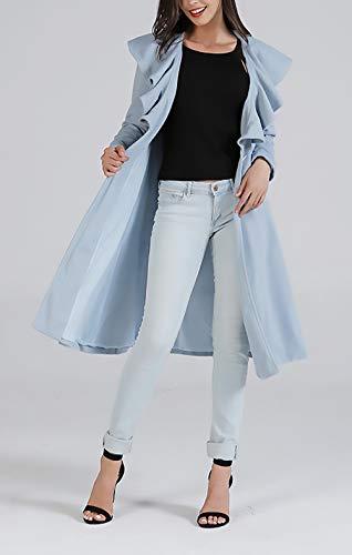 Casuales Abrigo Fit Exteriores Largos De Color Elegantes Primavera Mujeres Valance Lana Otoño Azul Chaqueta Fashion Slim Chic Mujer Con Prendas Sólido Largo Manga 4arqw64