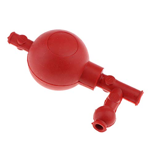 Almencla 3-Way Valve Pipette Filling Bulb Safety Pipet Filler Bulb Lab Supply - Red