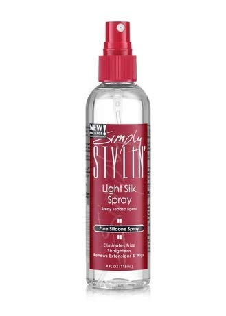 Simply Stylin' Light Silk Spray Pure Silicone Hair Protection from Heat and Humidity - Natural Serum Product for Long and Shiny - 4 oz