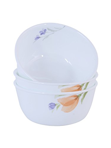 Corelle Begonia Glass Curry Bowl Pack of 3, 828ML, Multicolor
