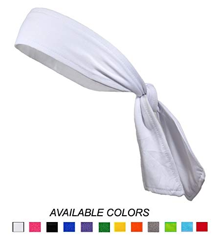Headbands Tie on Headband for Women Men Head Tie Running Athletic Hair Band Elastic Sports Sweat Bands Basketball Sweatband Stetchy Yoga Workout Sweatbands Adjustable Non-Slip Moisture Wicking (White)]()
