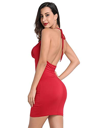 Lomantise Sexy Backless-Cocktail-Dress, Bodycon Evening Party-Dress (17 Wine, 8/10)