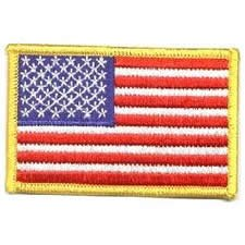 Gold Security Patch - American Flag Embroidered Patch Gold Border Uniform Emblem Decal USA United States of America Military