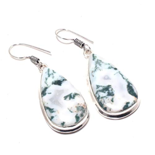 VietGT Moss Stone - Moss Agates, Silver Overlay on Copper Earrings,51 mm, E3717 ()
