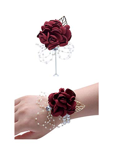 (Flonding Rose Wedding Wrist Corsage and Boutonniere Set Party Prom Hand Ribbon Flower Suit Decor (Burgundy))