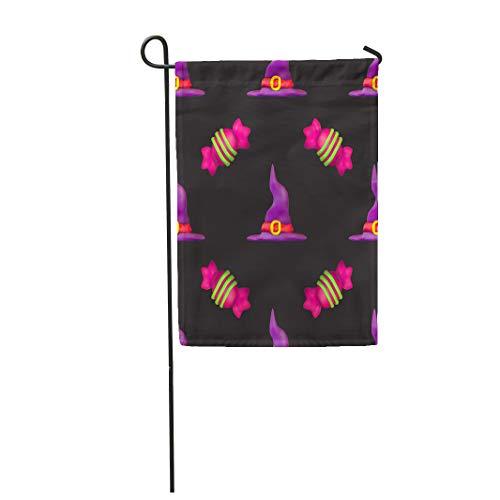 Semtomn Garden Flag Purple All Plasticine for Halloween Dark Pattern Fills Saints 28