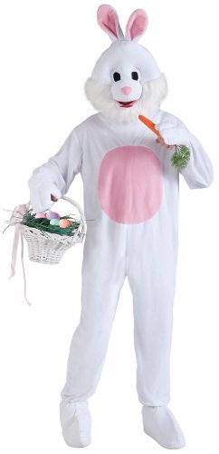 Forum Novelties Men's Plush Bunny Mascot Costume, Pink/White, Standard