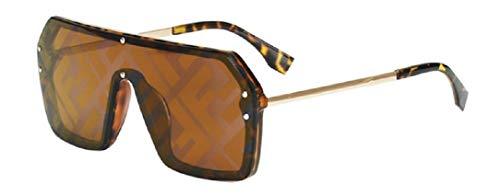- YABINA (TM) Cool Unisex Oversized Flat Top Square Mirror Sunglasses (Tan)