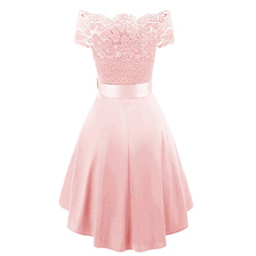 (COPPEN Women Formal Mini Lace Chiffon Dress Prom Evening Party Cocktail Bridesmaid Gown Pink)