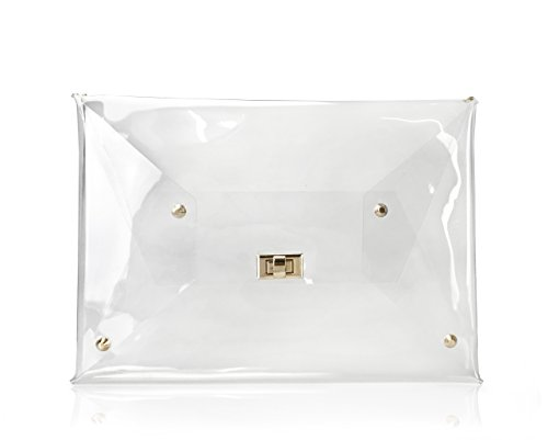 Hoxis Large Size PVC Clear Envelope Clutch Gold Chain Crossbody Shoulder Bag Womens Purse