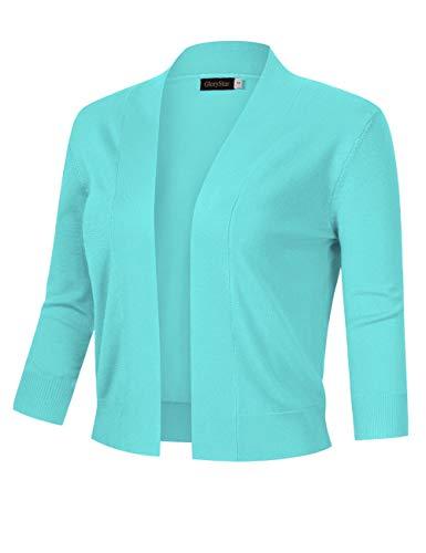 GloryStar Women's 3/4 Sleeve Open Front Cropped Cardigan Sweater Lightweight Knit Short Shrugs (M, Mint)