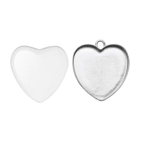 Glorex Silver 25x27 mm Thumbprint Heart Charm, Metallic, Silver, 12 x 8.5 x 0.8 cm