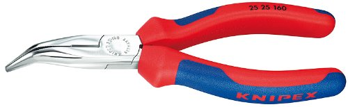 Knipex 2525160 Angled Chain Nose Pliers with Cutter with Comfort Grip, 6.25 Inch by KNIPEX Tools